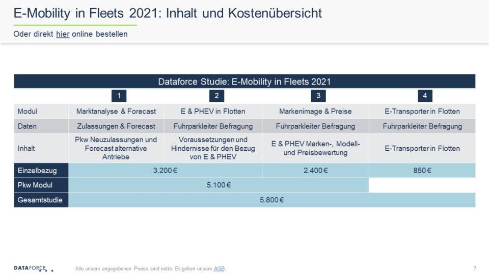 Dataforce E-Mobility in Fleets 2021 Studie Inhalt und Kostenübersicht