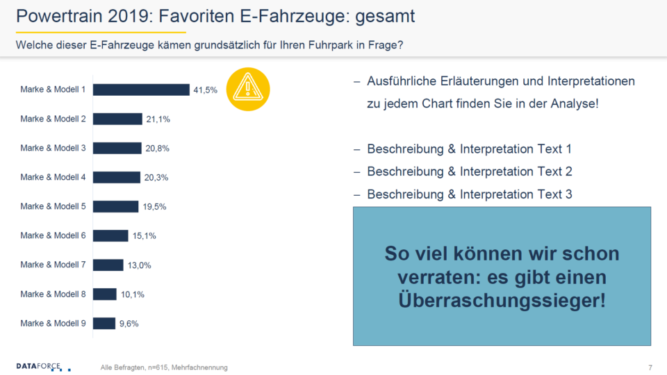 Dataforce Powertrain 2019 Studie Analyse Favoriten E-Fahrzeuge Marke Modell